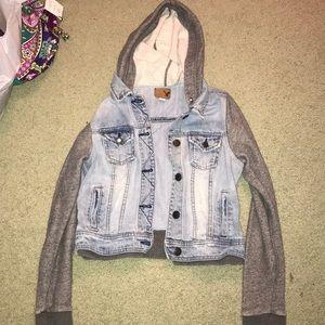 S hooded sweatshirt jean jacket from AE